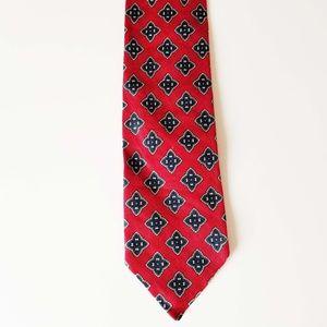 Robert Talbott Red with Blue Medallions Neck Tie